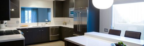 Designer kitchen with 2 different cabinet finishes