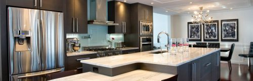 Modern kitchen with dark cabinet finish